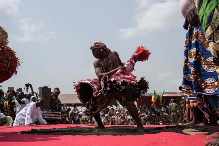 A Vodoo devotee dressed up in a costume performs at the annual Voodoo Festival on January 10, 2017 in Ouidah. (STEFAN HEUNIS/AFP/Getty Images)
