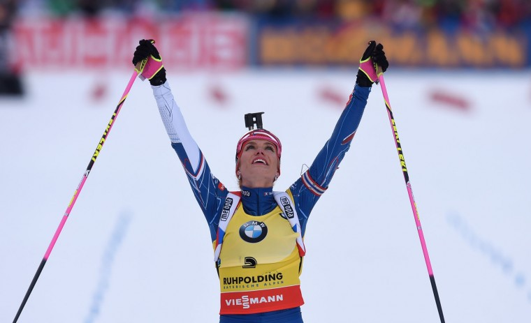 Czech Gabriela Koukalova celebrates in the finish of the women's 10 km pursuit competition of the Biathlon World Cup on January 15, 2017, in Ruhpolding, southern Germany. (Christof Stache/AFP/Getty Images)
