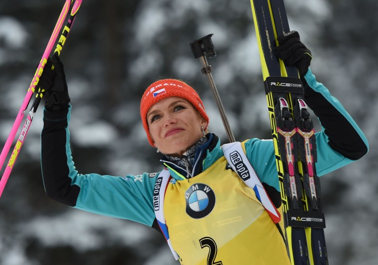 Gabriela Koukalova of the Czech Republic celebrates after placing second in the women's 10 km pursuit event at the Biathlon World Cup on January 15, 2017, in Ruhpolding, southern Germany. (Christof Stache/AFP/Getty Images)