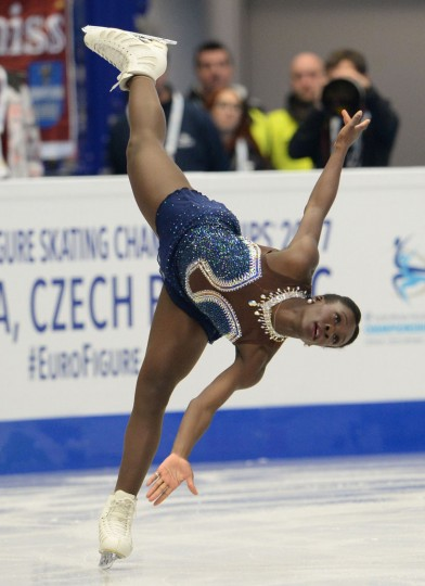 Mae Berenice Meite of France competes during the ladies free skating competition of the European Figure Skating Championship in Ostrava, Czech Republic on January 27, 2017. (Michal Cizek/AFP/Getty Images)