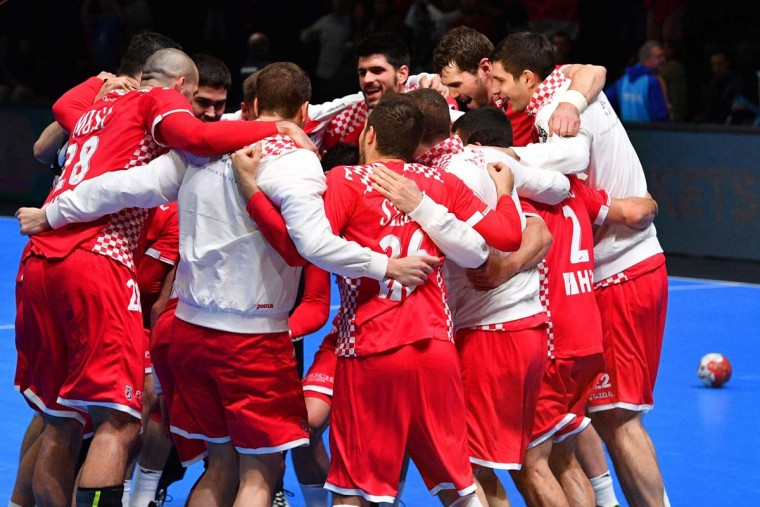Croatia's players celebrate after winning the 25th IHF Men's World Championship 2017 eighth final handball match Croatia vs Egypt on January 22, 2017 at the Arena in Montpellier. (PASCAL GUYOT/AFP/Getty Images)