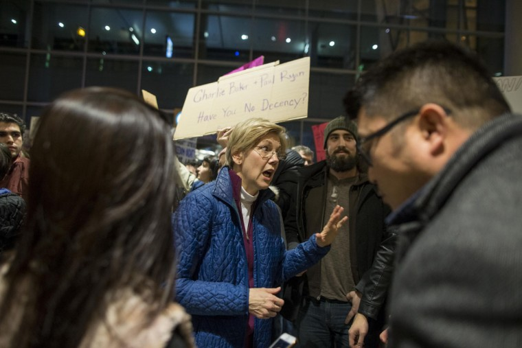 BOSTON, MA - JANUARY 28: U.S. Senator Elizabeth Warren speaks at a demonstration against the new ban on immigration issued by President Donald Trump at Logan International Airport on January 28, 2017 in Boston, Massachusetts. President Trump signed an executive order that halted refugees and residents from predominantly Muslim countries from entering the United States. (Photo by Scott Eisen/Getty Images)