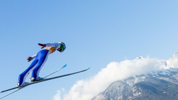 Domen Prevc of Slovenia soars through the air during his second trial jump of the ski jumping event in Innsbruck, which is the third station of the Four-Hills Ski Jumping tournament (Vierschanzentournee), on January 3, 2017. (Jakob Gruber/AFP/Getty Images)