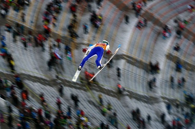 Domen Prevc of Slovenia competes during the qualification of the Four Hills competition (Vierschanzentournee) of the FIS Ski Jumping World Cup in Innsbruck on January 3, 2017. The third competition of the Four-Hills Ski jumping event takes place in Innsbruck before the tournament continues in Bischofshofen (Austria). (Michal Cizek/AFP/Getty Images)