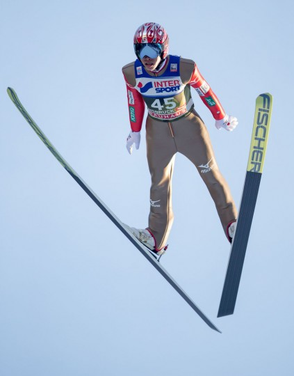 Taku Takeuchi of Japan soars through the air during his qualification jump of the Four Hills competition (Vierschanzentournee) of the FIS Ski Jumping World Cup in Innsbruck on January 3, 2017. The third competition of the Four-Hills Ski jumping event takes place in Innsbruck before the tournament continues in Bischofshofen (Austria). (Jakob Gruber/AFP/Getty Images)
