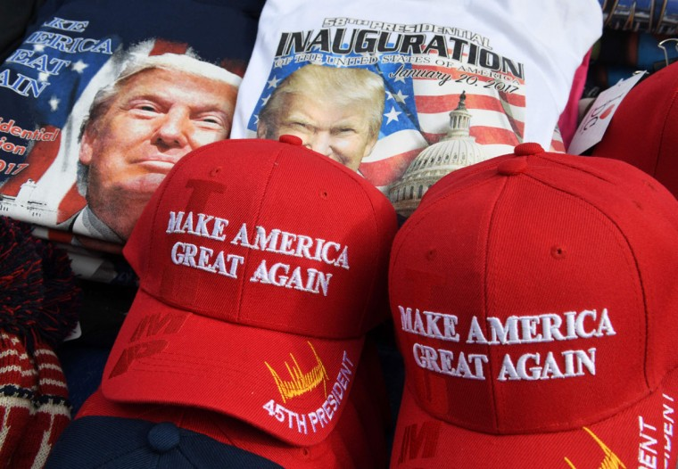 US President-elect Donald Trump merchandise on sale outside the White House in Washington, DC, on January 19, 2017, as final preparations are underway a day ahead of the inauguration of the 45th US president.† (AFP PHOTO / Mark RALSTON)