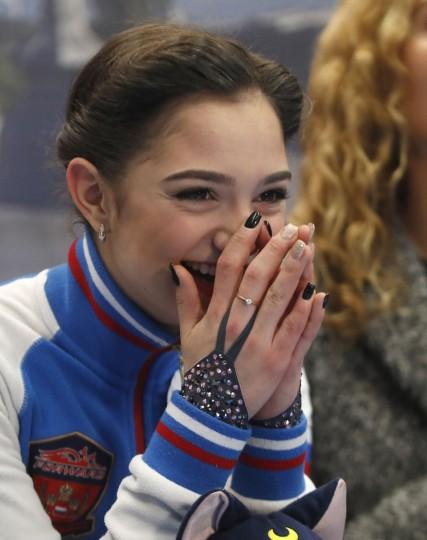 Russia's Evgenia Medvedeva smiles after her free program at the European Figure Skating Championships in Ostrava, Czech Republic, Friday, Jan. 27, 2017. (AP Photo/Petr David Josek)