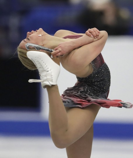Russia's Anna Pogorilaya skates her free program at the European Figure Skating Championships in Ostrava, Czech Republic, Friday, Jan. 27, 2017. (AP Photo/Petr David Josek)