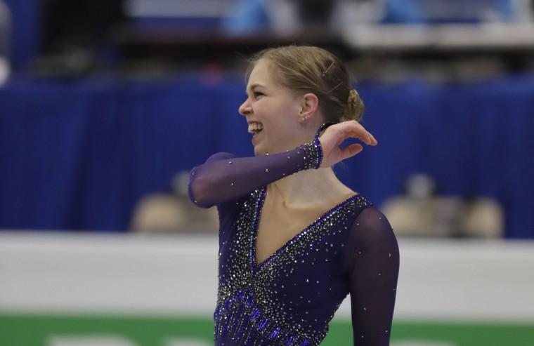Slovakia's Nicole Rajicova smiles after her free program at the European Figure Skating Championships in Ostrava, Czech Republic, Friday, Jan. 27, 2017. (AP Photo/Petr David Josek)