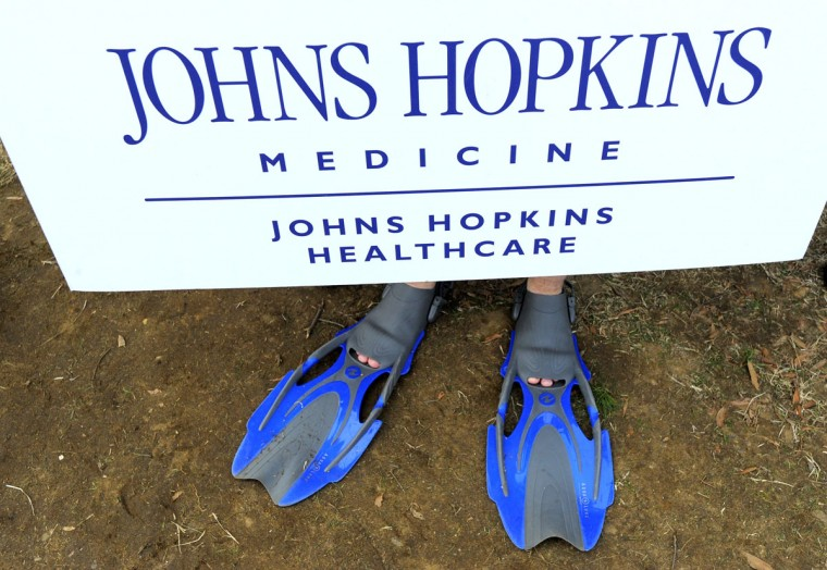 The flippers worn by Hopkins employee, Jason Butterhoff before the Corporate Plunge. (Lloyd Fox/Baltimore Sun)