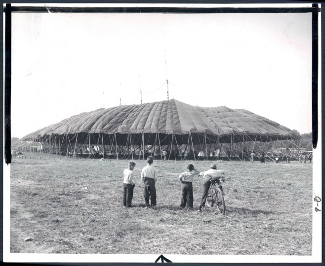 May 19, 1956 - Ringling Brothers: Barnum and Bailey Circus. Big Top goes up. Photo taken by Baltimore Sun Staff File Photographer Frank Gardina.