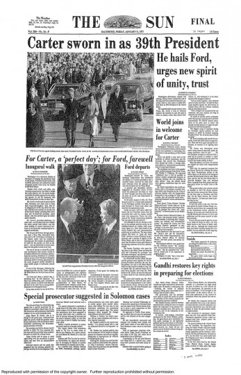 Jimmy Carter. Jan. 21, 1977.