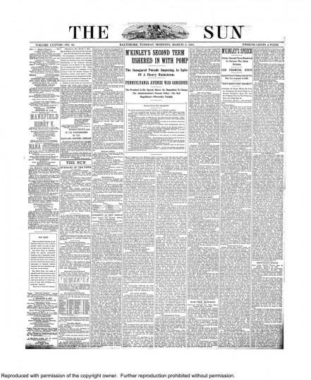 William McKinley. March 5, 1901.