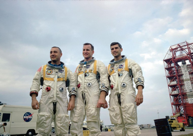 NASA's Apollo 1 crew was named on March 21, 1966. Left to right are astronauts Virgil Grissom, Edward White and Roger Chaffee.