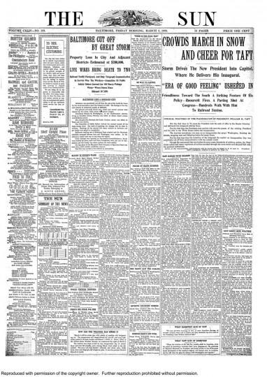 William Howard Taft. March 5, 1909.