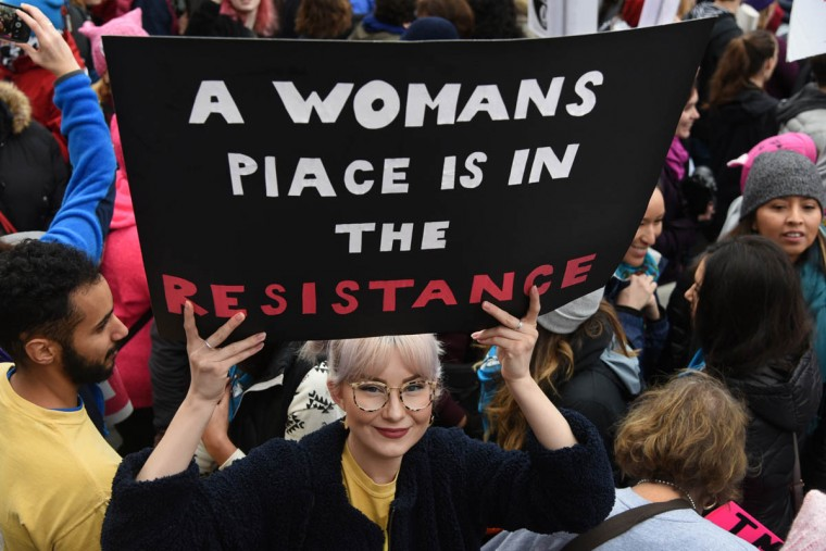 "Courtney Doerschel, 24, came to the Women's March on Washington from Los Angeles, CA, proud to be part of the ""Resistance."" (Amy Davis/Baltimore Sun)"