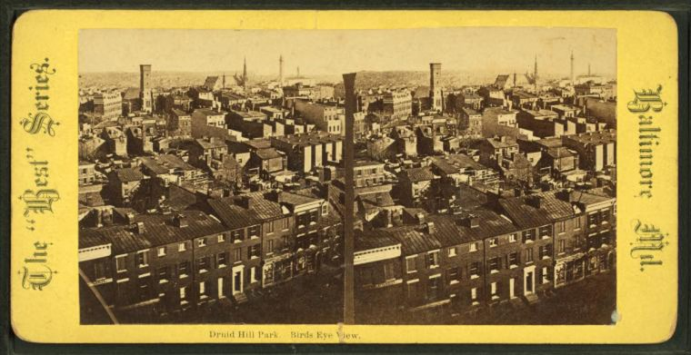 Druid Hill park. Birds eye view. 1880. (Image via New York Public Library, Miriam and Ira D. Wallach Division of Arts, Prints and Photographs: Photography Collection)