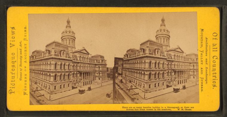 City Hall. (Image via New York Public Library, Miriam and Ira D. Wallach Division of Arts, Prints and Photographs: Photography Collection)