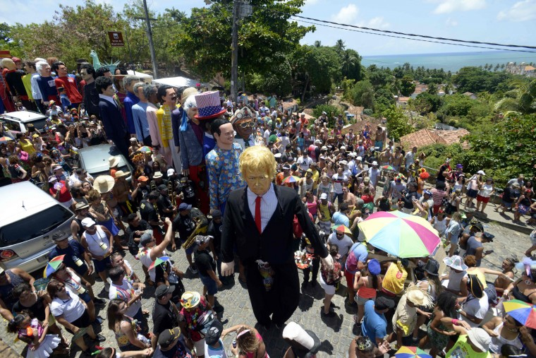 A large dummy of US President Donald Trump is paraded among other figures along the streets of Olinda, Pernambuco, northeastern Brazil on February 27, 2017 as part of the carnival celebrations. (Leo Caldas/AFP/Getty Images)