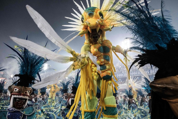 Revellers of the Grande Rio samba school perform during the first night of Rio's Carnival at the Sambadrome in Rio de Janeiro, Brazil, early on February 27, 2017. (Yasuyoshi Chiba/AFP/Getty Images)