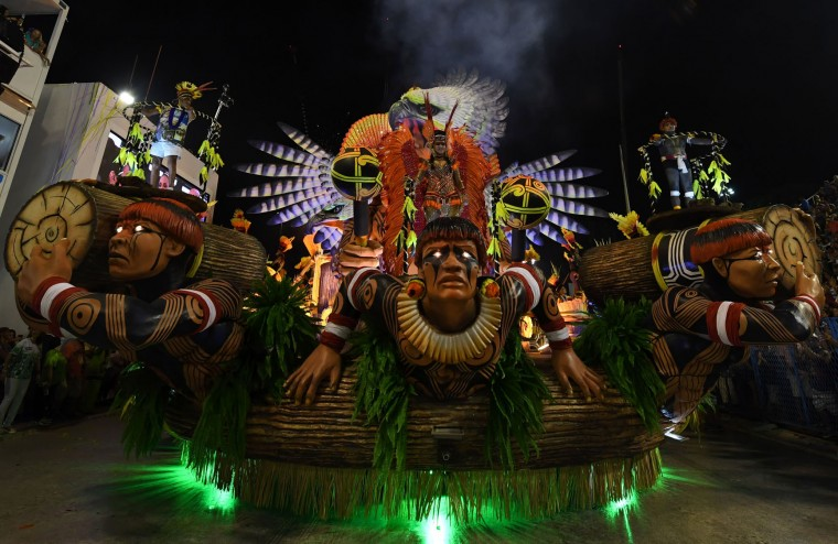 Revellers of the Imperatriz Leopoldinense samba school perform during the first night of Rio's Carnival at the Sambadrome in Rio de Janeiro, Brazil, early on February 27, 2017. (Vanderlei Almeida/AFP/Getty Images)