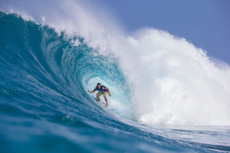 Makua Kai Rothmn of Hawaii rides the wave during the 2017 Volcom Pipe Pro at Pipeline and Backdoor on February 3, 2017 in Oahu, Hawaii. (AFP PHOTO AND BRIAN BIELMANN PHOTOGRAPHY)