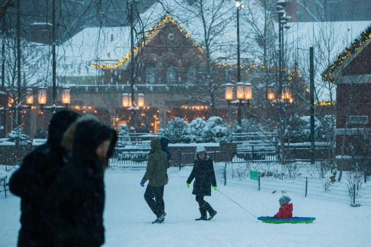 People walk under a snowfall as they visit Central Park during a winter storm on January 7, 2017 in New York. (Eduardo Munoz Alvarez/Getty Images)