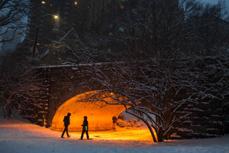 People walk under a snowfall as they visit Central Park during a winter storm on January 7, 2017 in New York. (Eduardo Munoz Alvarez/AFP/Getty Images)