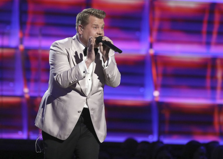 Host James Corden raps at the 59th annual Grammy Awards on Sunday, Feb. 12, 2017, in Los Angeles. (Photo by Matt Sayles/Invision/AP)