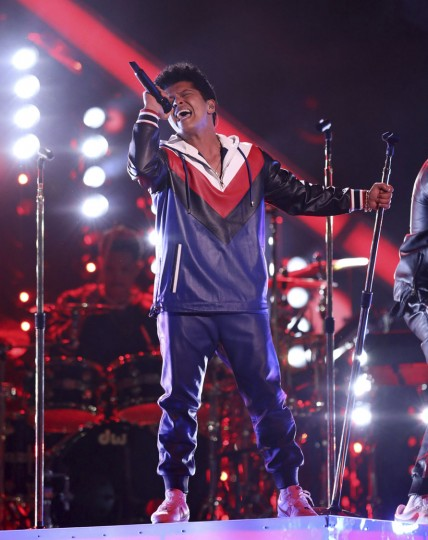 """Bruno Mars performs """"That's What I Like"""" at the 59th annual Grammy Awards on Sunday, Feb. 12, 2017, in Los Angeles. (Photo by Matt Sayles/Invision/AP)"""