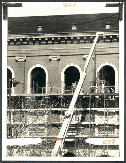 Renovations underway at Center Stage's Calvert Street location, photo dated February 26, 1975. (Baltimore Sun)