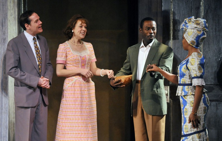 "Baltimore, MD-5/7/13--Jonathan Crombie (Peter Nelson), Jenna Sokolowski (Mrs. Nelson) Charlie Hudson III (Joseph Asagal) and Jessica Frances Dukes (Beneatha Asagai Younger) are shown during dress rehearsal of ""Beneatha's Place,"" a new play by Center Stage artistic director Kwame Kwei-Armah and the last segment of the Raisin Cycle. (Gene Sweeney Jr./Baltimore Sun)"