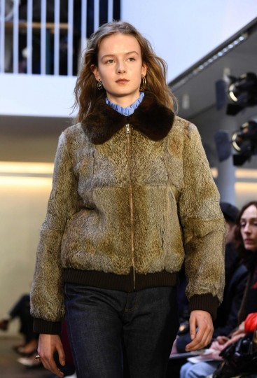 A model presents a creation by A.P.C during the women's Fall-Winter 2017-2018 ready-to-wear collection fashion show in Paris on March 6, 2017. (Alain Jocard/AFP/Getty Images)