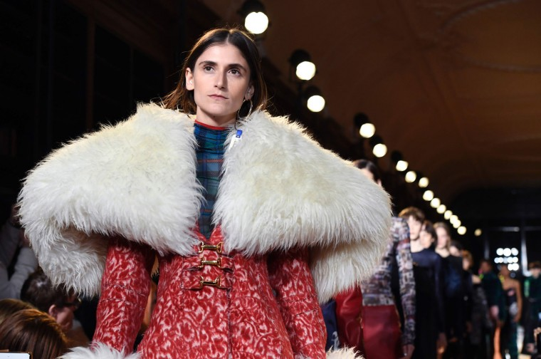 Models present creations by Esteban Cortazar during the women's Fall-Winter 2017-2018 ready-to-wear collection fashion show in Paris on March 6, 2017. (Bertrand Guay/AFP/Getty Images)