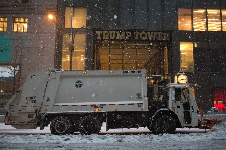 A plow operates along Fifth Avenue during a day of heavy snow and freezing rain on March 14, 2017 in New York City. Much of the Northeast is under a state of emergency as a blizzard is expected to bring over one foot of snow and high winds to the area. (Photo by Kevin Hagen/Getty Images)