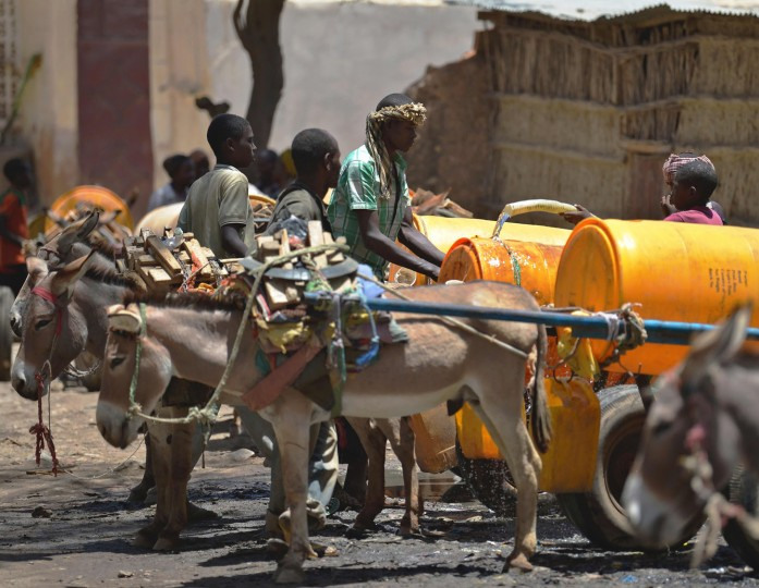 Young boys fill with water drums loaded on donkey-carts before selling it on March 15, 2017 in Baidoa, in the southwestern Bay region of Somalia, where the spread of cholera has claimed tens of lives of internally displaced people fleeing the parched countryside. The United Nations is warning of an unprecedented global crisis with famine already gripping parts of South Sudan and looming over Nigeria, Yemen and Somalia, threatening the lives of 20 million people. For Somalis, the memory of the 2011 famine which left a quarter of a million people dead is still fresh. (Tony Karumba/AFP/Getty Images)