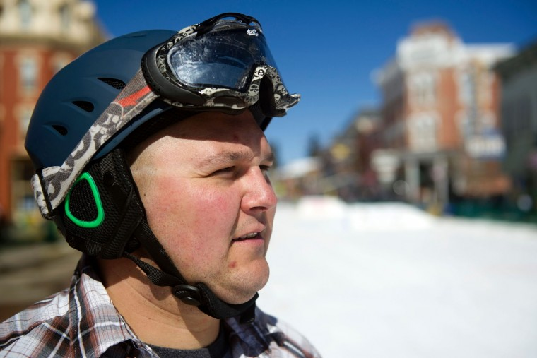 Chase Eger of Leadville, Colorado, waits for the start of the 68th annual Leadville skijoring weekend competition on Saturday, March 4, 2017 in Leadville, Colorado. Eger has been competing in the Leadville Ski Joring competition for over 10 years. Skijoring, which has its origins as a competitive sport in Scandinavia, has been adapted over the years to include a team made up of a rider and skier who must navigate jumps, slalom gates, and the spearing of rings for points. Leadville, with an elevation of 10,152 feet (3,094 m), the highest incorporated city in North America, has been hosting skijoring competitions since 1949. (Jason Connolly/AFP/Getty Images)