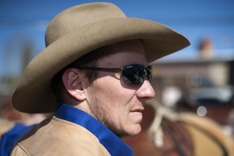 Rider Nick Ehlenfeldt of Leadville, Colorado waits for the start of the 68th annual Leadville Ski Joring weekend competition on Saturday, March 4, 2017 in Leadville, Colorado. Ehlenfeldt has been racing his horses in the Leadville skijoring competition for more than 10 years. Skijoring, which has its origins as a competitive sport in Scandinavia, has been adapted over the years to include a team made up of a rider and skier who must navigate jumps, slalom gates, and the spearing of rings for points. Leadville, with an elevation of 10,152 feet (3,094 m), the highest incorporated city in North America, has been hosting skijoring competitions since 1949. (Jason Connolly/AFP/Getty Images)