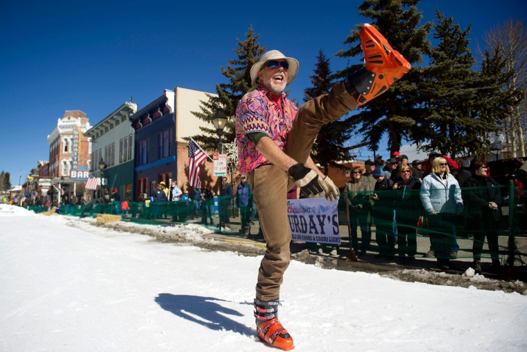 Craig Schreiber of Leadville, Colorado warms up prior to the start of the 68th annual Leadville Ski Joring weekend competition on Saturday, March 4, 2017 in Leadville, Colorado. Schreiber has been competing for 38 years. Skijoring, which has its origins as a competitive sport in Scandinavia, has been adapted over the years to include a team made up of a rider and skier who must navigate jumps, slalom gates, and the spearing of rings for points. Leadville, with an elevation of 10,152 feet (3,094 m), the highest incorporated city in North America, has been hosting skijoring competitions since 1949. (Jason Connolly/AFP/Getty Images)