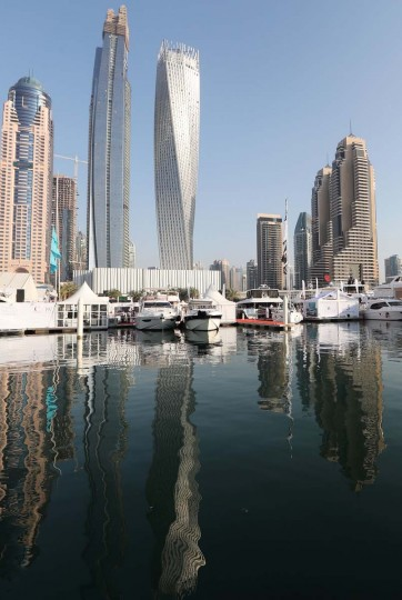 Boats are docked at the Dubai International Marine Club during the Gulf emirate's international Boat Show on February 28, 2017. (KARIM SAHIB/AFP/Getty Images)