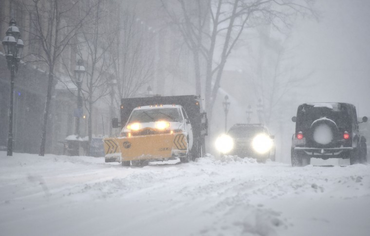 Vehicles travel on Main Street in Bethlehem, Pa., on Tuesday, March 14, 2017, as a Nor'easter hit the Lehigh Valley. The heaviest snow in Pennsylvania fell in a swath from the Gettysburg area near the Maryland line in the south, straight north to New York, and northeast to the Pocono Mountains, the Lehigh Valley and the Scranton and Wilkes-Barre region. (April Bartholomew /The Morning Call via AP)