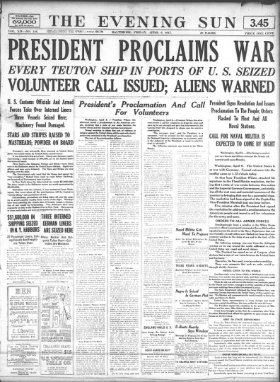 April 6 1917: U.S. enters World War 1