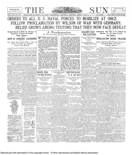April 7 1917: U.S. Declares War Enters World War 1