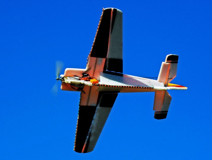 This foam electric model airplane is set up with less lights on its wings and body for night flying. (Kenneth K. Lam/Baltimore Sun)