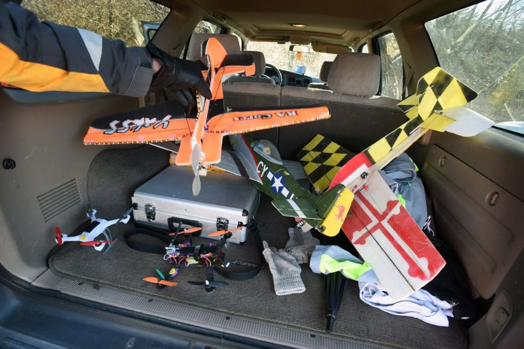 Several foam electric model airplanes and drones ride in the SUV trunk of Drew Wilkerson, vice president of the Harford County Radio Control Modelers (HCRCM).) (Kenneth K. Lam/Baltimore Sun)