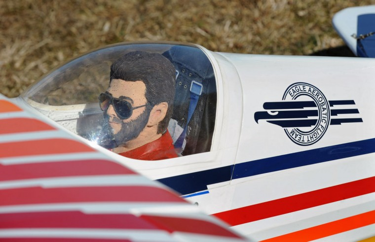 Radio controlled flyer Arthur Pearce painted the model pilot of his Christen Eagle model plane a younger version of himself. (Kenneth K. Lam/Baltimore Sun)