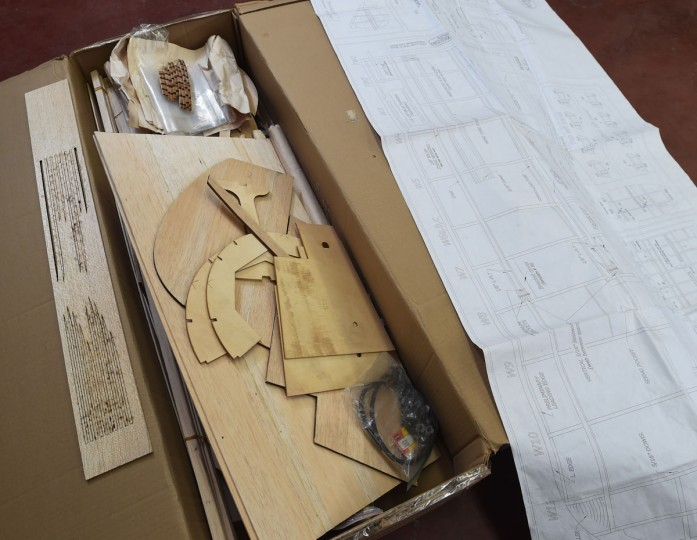 A typical wood model airplane kit consists of hundreds of pieces to be assembled by the builder. (Kenneth K. Lam/Baltimore Sun)