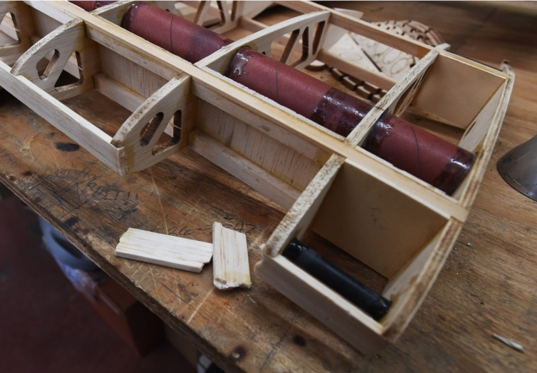 Broken pieces of part of the balsa wood plane's wing. (Kenneth K. Lam/Baltimore Sun)