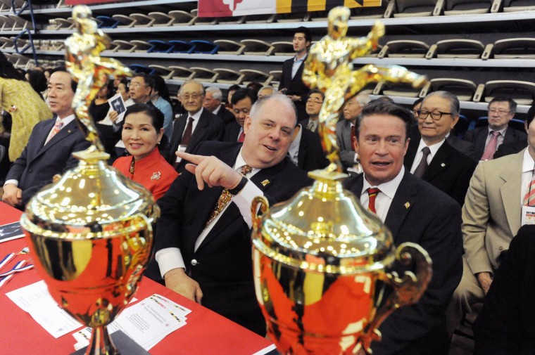 """Gov. Larry Hogan, center, declared """"Taekwondo Day"""" on April 5, 2016 to promote awareness of the Korean martial art. Over 500 competed in the First Maryland Governor's Cup Taekwondo Championship hosted by the Maryland State Taekwondo Association at the APGFCU Arena Harford Community College. Competitors, ages from 3 to over 60 and from as far as Maine, competed in forms, board breaking and sparring in a full day of contests. All proceeds from the championship will be donated to the Children's Cancer Foundation (CCF). (Kenneth K. Lam/The Baltimore Sun)"""