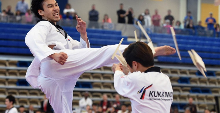 A member of Korean's Kukkiwon Taekwondo Demonstration team breaks a stack of pine boards. Over 500 competed in the First Maryland Governor's Cup Taekwondo Championship hosted by the Maryland State Taekwondo Association at the APGFCU Arena Harford Community College. Competitors, ages from 3 to over 60 and from as far as Maine, competed in forms, board breaking and sparring in a full day of contests. All proceeds from the championship will be donated to the Children's Cancer Foundation (CCF). (Kenneth K. Lam/The Baltimore Sun)